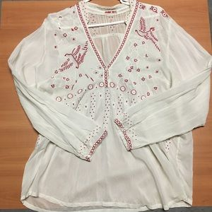Johnny Was embroidered blouse size L
